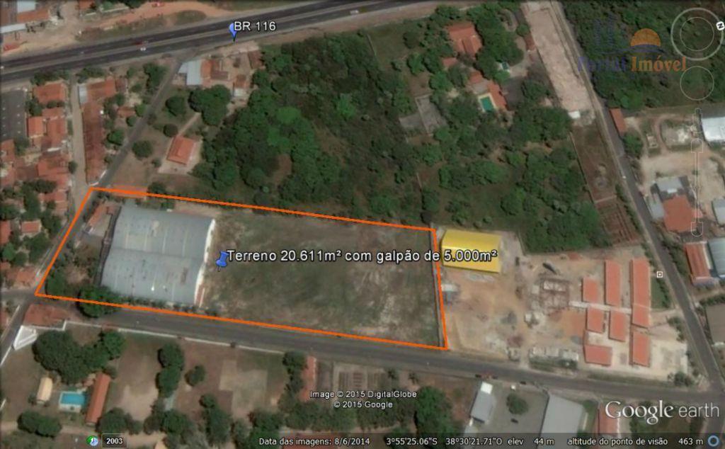 Terreno 20.611m² com Galpão industrial à venda no Jabuti, Fortaleza.