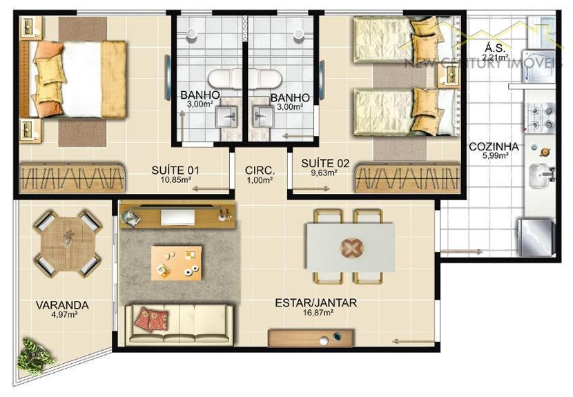 Century 21 Estilo Imóveis - Apto 2 Dorm (AP1004) - Foto 4