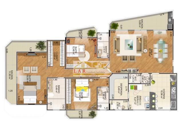 Apartamento  Novinho,3 dormitórios (suítes), Canto do Forte, Praia Grande.