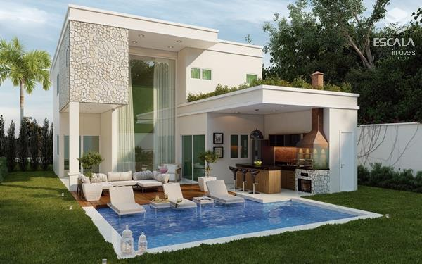 Casas duplex à venda em loteamento fechado de alto padrão no Eusébio, com 253m2, 4 suítes. Financia.